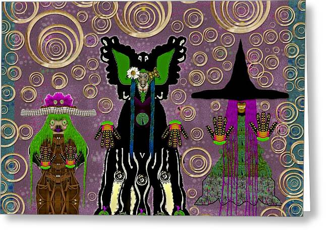 Lady Panda And Friends Gathering In The Starry Night,dracula Involved Greeting Card