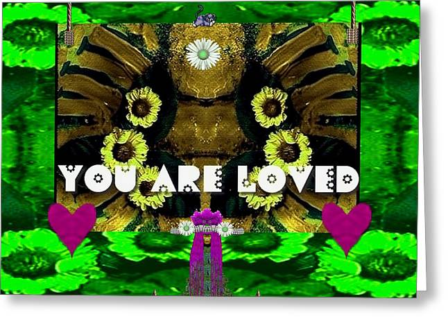Lady Panda Says You Are Loved Greeting Card