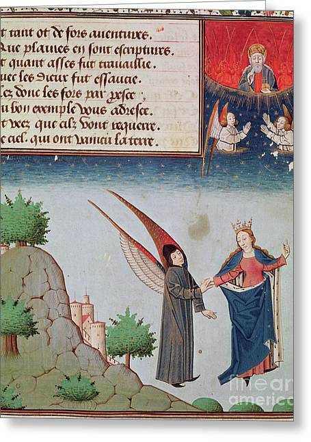 Lady Philosophy Leads Boethius In Flight Into The Sky On The Wings That She Has Given Him Greeting Card by French School