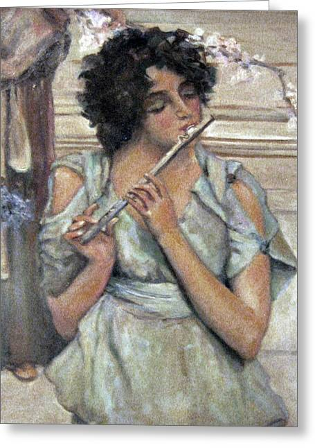 Lady Playing Flute Greeting Card by Donna Tucker