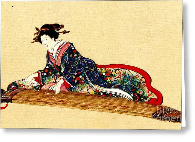 Lady Playing Koto 1878 Greeting Card by Padre Art