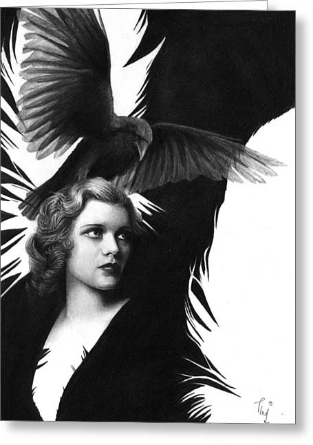 Lady Raven Surreal Pencil Drawing Greeting Card
