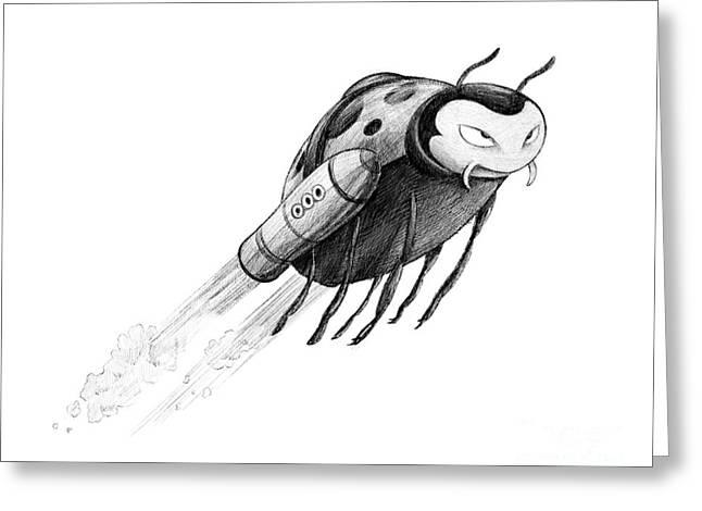 Lady Rocket Bug Greeting Card