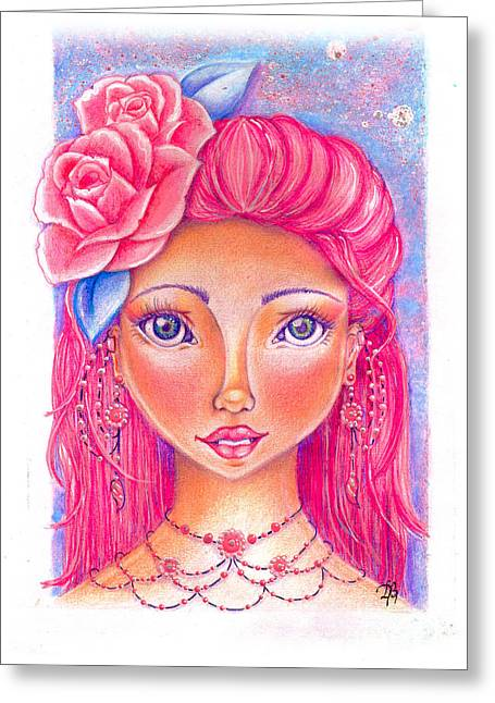 Lady Rose Greeting Card by Delein Padilla