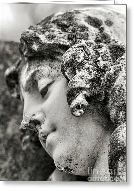 Lady Sculpture Head At Rest Mount Olivet Cemetery Nashville Tn Greeting Card