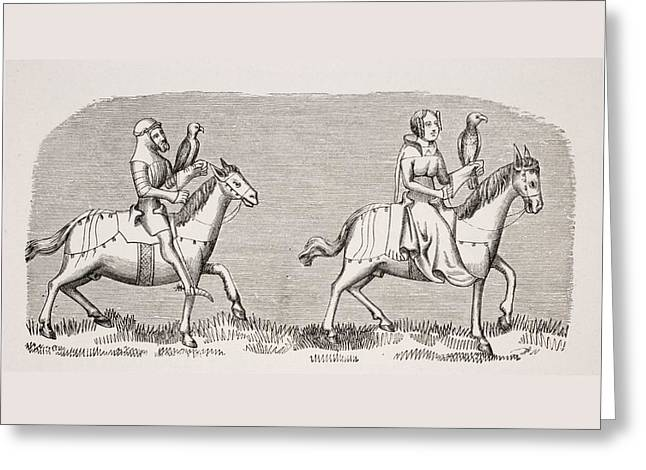 Lady Setting Out Hawking. 19th Century Greeting Card