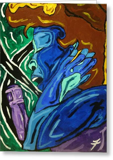 Lady Sing The Blues Greeting Card by Jason JaFleu Fleurant