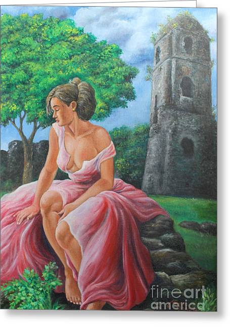 Lady Tourist In Bicol 2 Greeting Card by Manuel Cadag