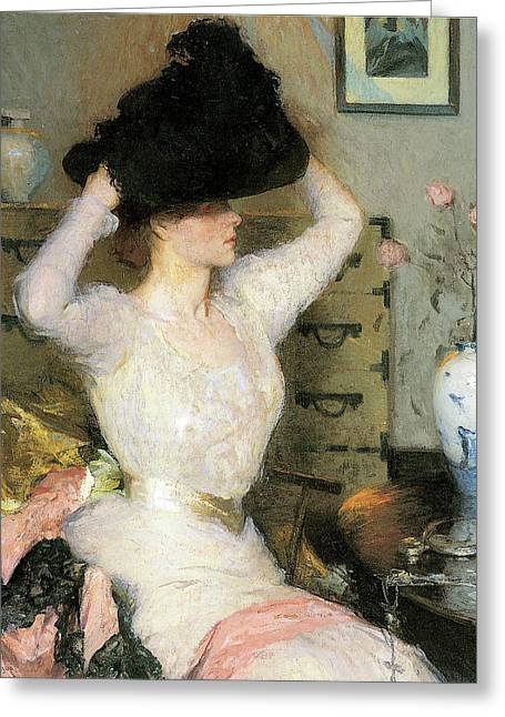Lady Trying On A Ha Greeting Card by Frank Weston Benson
