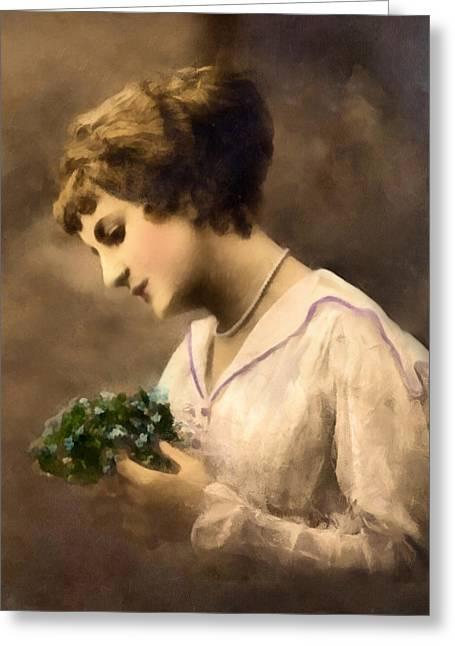 Lady Vintage Greeting Card by Georgiana Romanovna