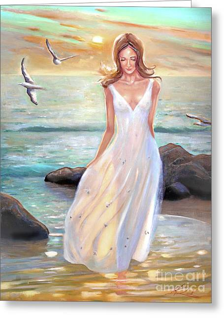 Lady Walking On The Beach Greeting Card