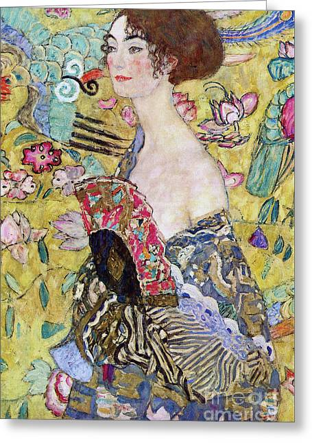 Lady With A Fan Greeting Card by Gustav Klimt