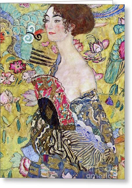 Lady With A Fan Greeting Card by Gustav Klimt