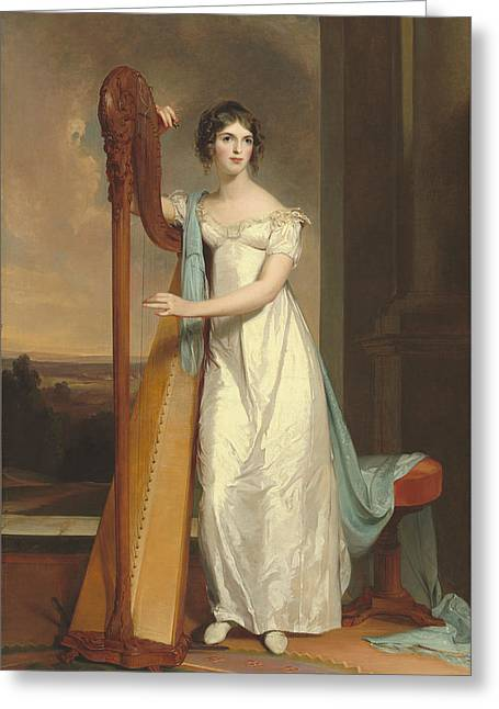 Lady With A Harp Greeting Card