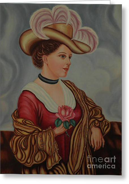 Lady With A Pink Rose Greeting Card by Margit Armbrust