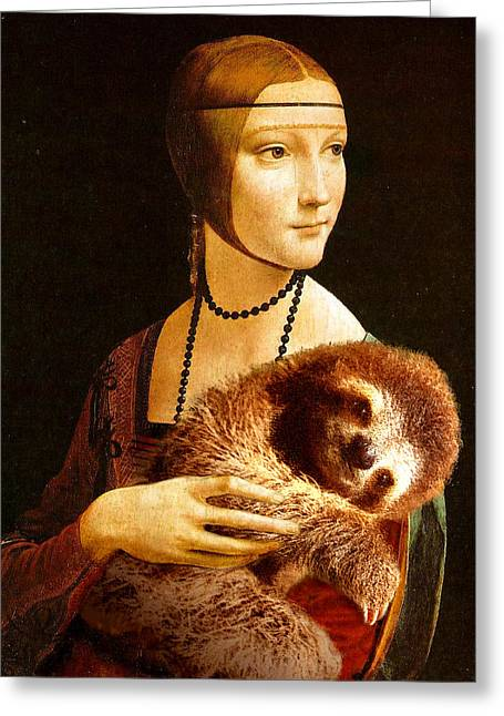 Lady With A Sloth Greeting Card