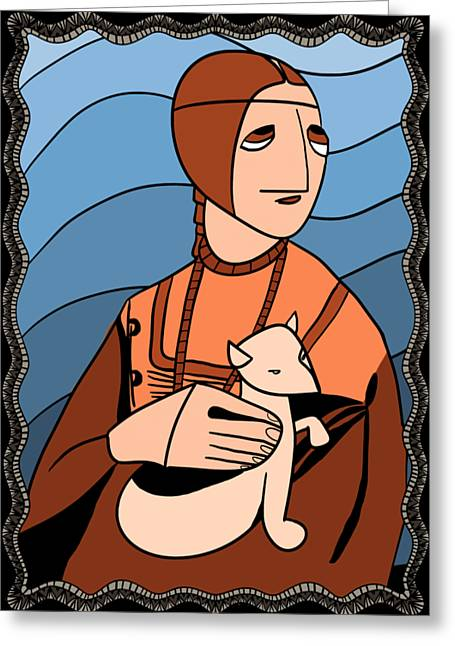 Lady With An Ermine By Piotr Greeting Card