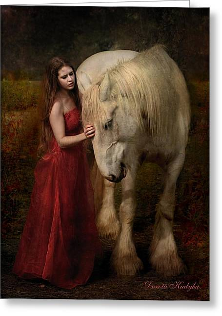 Horses With Nature Greeting Cards - Lady With An Ermine  Greeting Card by Dorota Kudyba