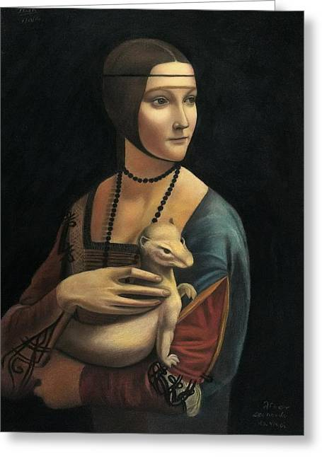 Lady With Ermine - Pastel Greeting Card