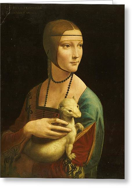 Lady With Ermine Greeting Card by Pg Reproductions