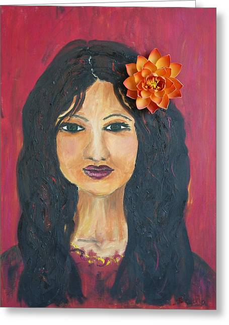 Greeting Card featuring the painting Lady With Flower by Sladjana Lazarevic