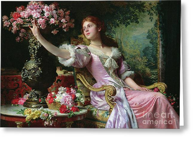 Lady With Flowers Greeting Card