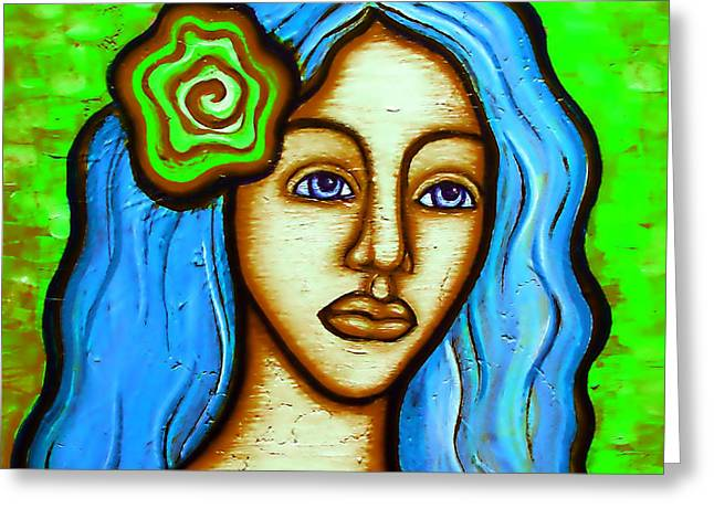 Lady With Green Flower Greeting Card by Brenda Higginson