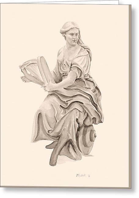 Lady With Harp Greeting Card