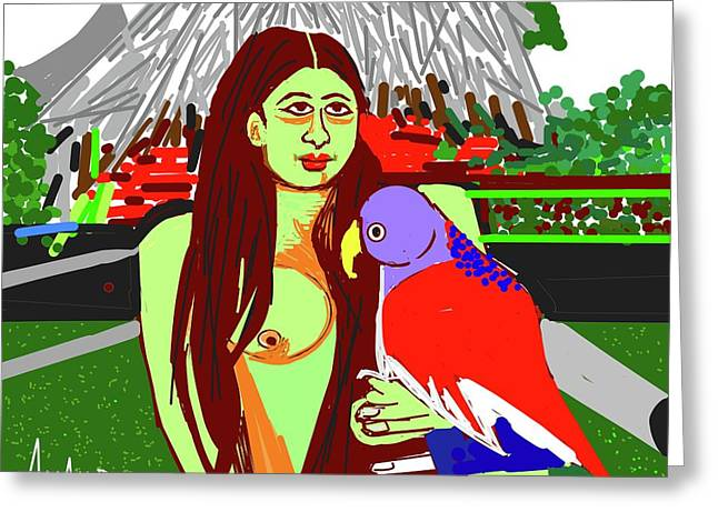 Lady With Parrot Greeting Card
