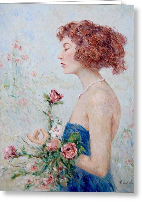 Lady With Roses  Greeting Card by Pierre Van Dijk
