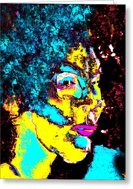 Lady With The Blue Hair Greeting Card by David Lee Thompson