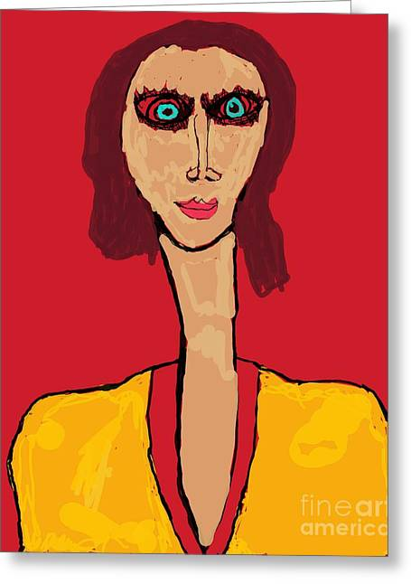 Lady With The Devilish Eyes Greeting Card by Paulo Guimaraes