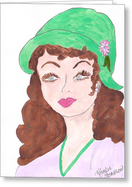 Lady With The Green Hat Greeting Card by Rosalie Scanlon