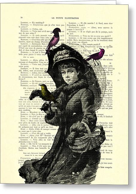 Lady With Umbrella In Winter Landscape Print On Old Book Page Greeting Card by Madame Memento