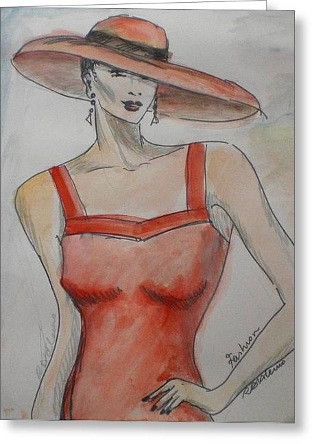 Lady Witht The Hat Greeting Card by Maria Rosaria DAlessio