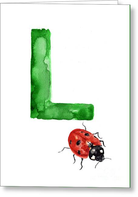 Ladybird Watercolor Alphabet Painting Greeting Card