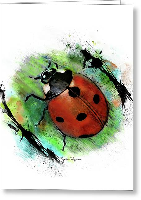 Ladybug Drawing Greeting Card
