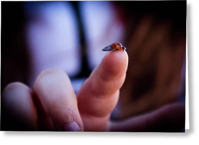 Ladybug On  Finger  Greeting Card