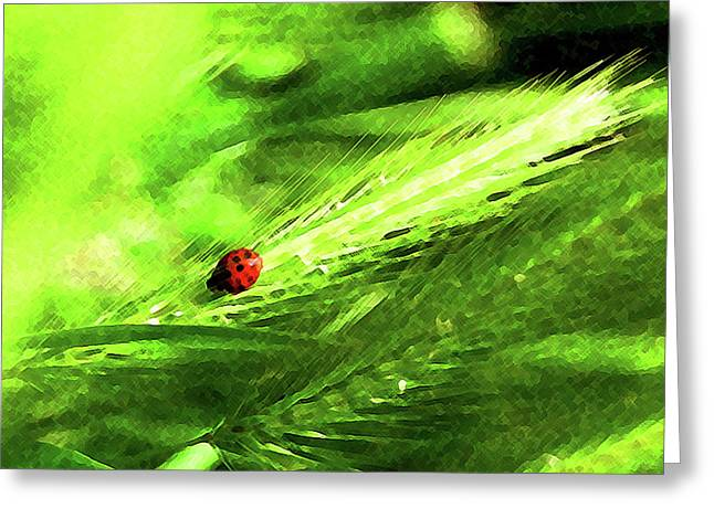 Greeting Card featuring the digital art Ladybug by Timothy Bulone