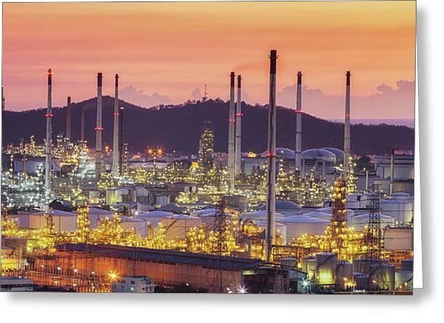 Laem Chabang Oil Refinery Factory Area Greeting Card by Anek Suwannaphoom