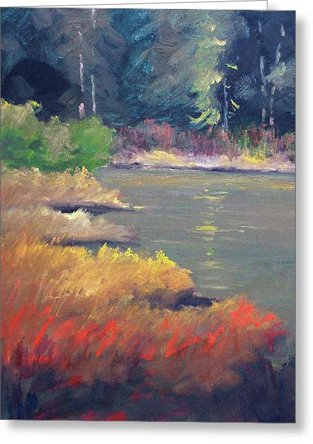 Greeting Card featuring the painting Lagoon by Nancy Merkle