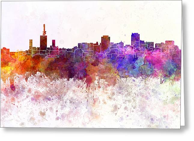 Lagos Skyline In Watercolor Background Greeting Card