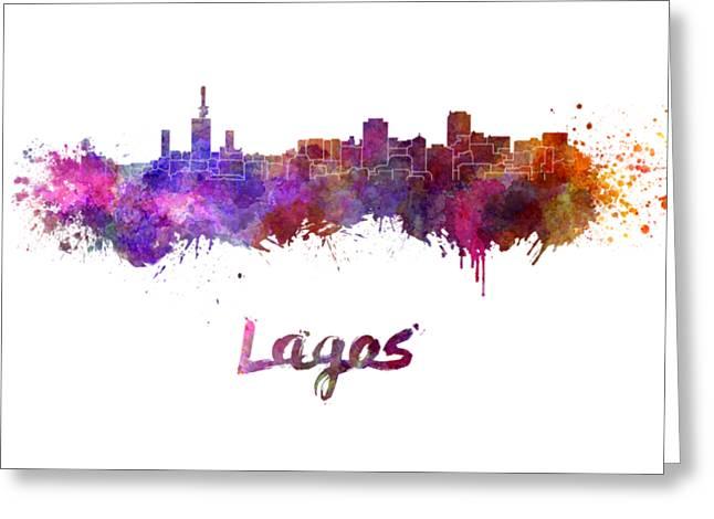 Lagos Skyline In Watercolor Greeting Card