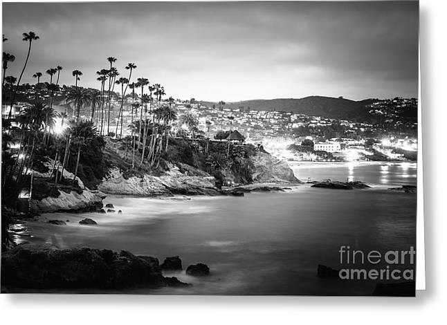 Laguna Beach At Night Black And White Picture Greeting Card