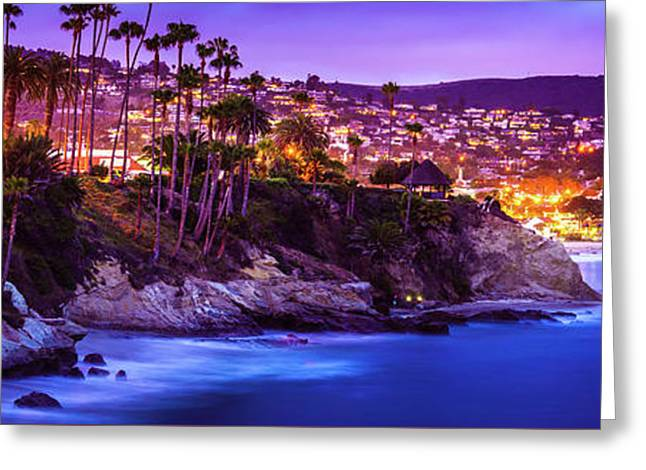 Laguna Beach At Night Panorama Picture Greeting Card