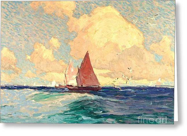 Yachting At Laguna Beach California 1921 Greeting Card