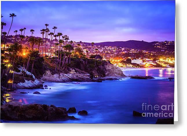Laguna Beach California City At Night Picture Greeting Card by Paul Velgos