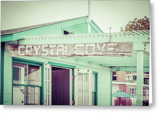 Laguna Beach Crystal Cove Sign Picture Greeting Card by Paul Velgos