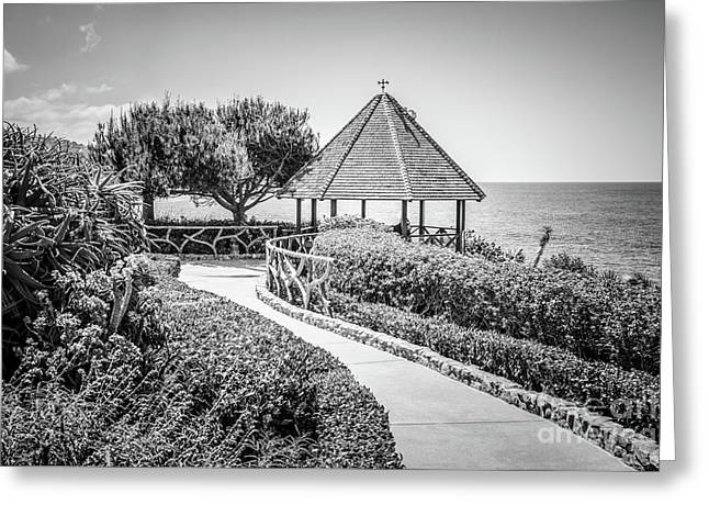 Laguna Beach Gazebo Black And White Picture Greeting Card
