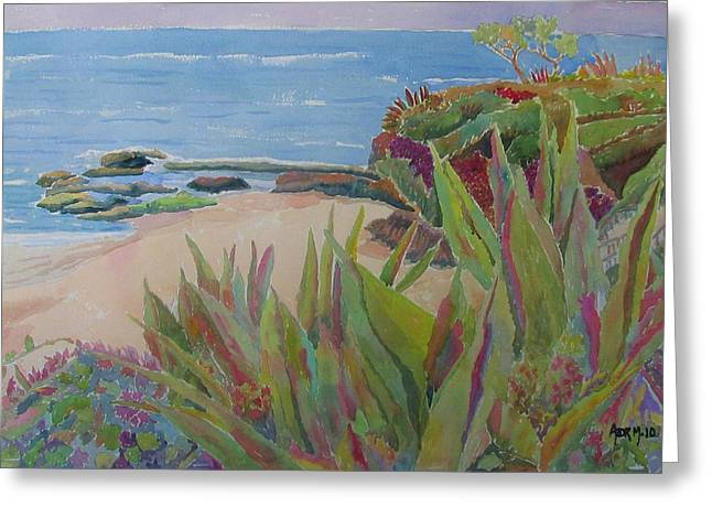 Laguna Beach Landscape Greeting Card by Azor Martinez